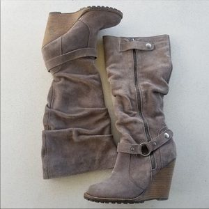 Bakers Suede Taupe Colored Leather Boot - Size 6